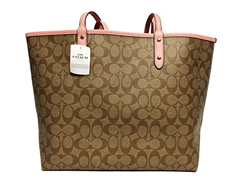 F36609 Coach PVC Tote Signature City Reversible Blush Khaki fxgwRqd8x