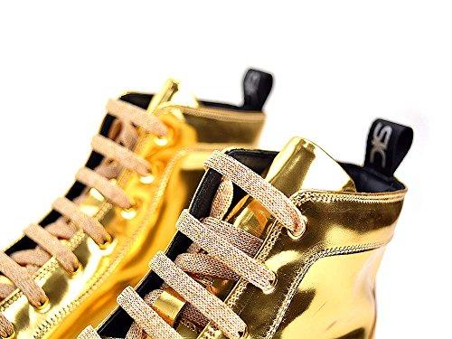 DIS Gianmarco - Sneakers Alta Pelle Laminato Oro Lucido La Tua Sneakers Alta In Pelle Laminato Oro Lucido, 100% Made In Italy E Personalizzabile