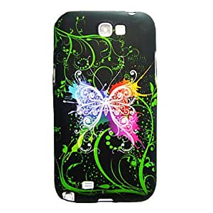 Colorful Butterfly Green Cirrus Black Soft Case for Samsung Galaxy Note 2 N7100
