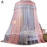 FOERTENG Canopy Bed Curtains, Colorblock Dome Princess Queen Mosquito Net Tent Floor-Length Yarn (A: Ash + Jade)