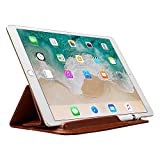 Sammid 2018 iPad 9.7 Cover, Portable Ultra Slim PU Leather Case Bag with Pencil Stylus Slot Holder for 2017/2018 iPad 9.7 inch - Red Brown