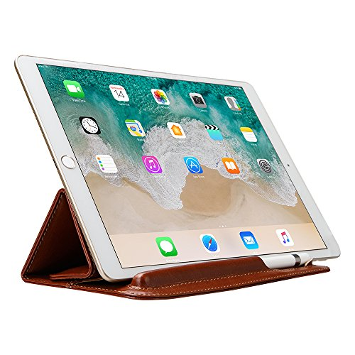 Sammid 2018 iPad 9.7 Cover, Portable Ultra Slim PU Leather Case Bag with Pencil Stylus Slot Holder for 2017/2018 iPad 9.7 inch - Red Brown by Sammid