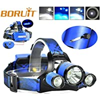 BORUIT RJ5000 Plus B22 Rechargeable Zoom XM-L2+2XPE BLUE LED Hunting Headlamp Micro USB Headlight Torch Waterproof Hard Hat Light, Bright Head Lights, Camping, Running headlamps