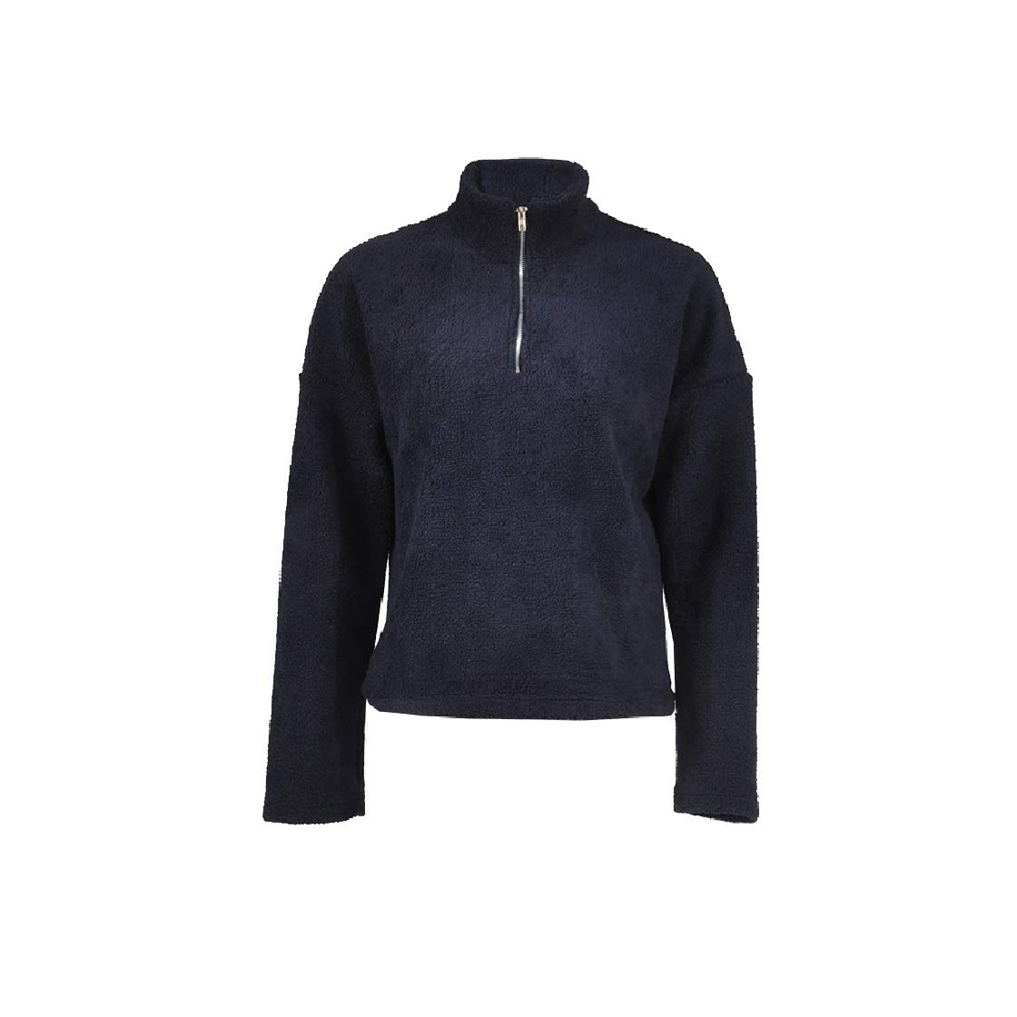 YUNY Women Relaxed Merino Zip-Up High Neck Solid-Colored Topcoat Blue XS