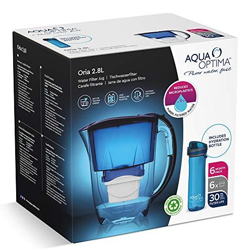 Aqua Optima PJ0550 Waterfilter voor koelkast, ter vermindering van microplastic, chloor, kalk en onzuiverheden, blauw, 2…