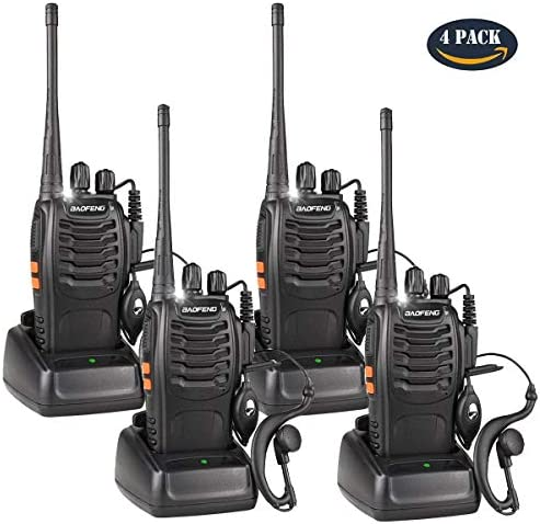Walkie Talkies Rechargeable Long Range for Adults, UHF FRS GMRS Two Way Radio Work in Voice Control and Alarm with Earpiece 16 Channels Li-ion Battery and Charger Pack of 4