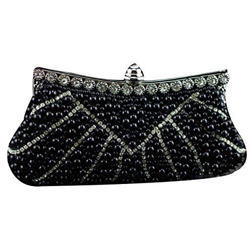 Pearl Diamond De Las Mujeres Bolso De Tarde De Alta Gama Black