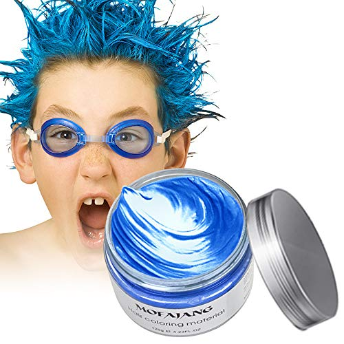 Arsty Temporary Hair Color Wax,4.23 oz Instant Blue Hair Pomades for Men Women, Natural Hairstyle Wax for Party, Cosplay -