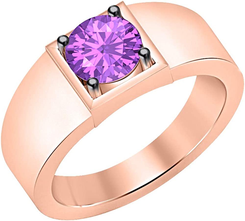 tusakha .925 Sterling Silver Solitaire 14K Rose Gold Plated Round Shaped Amethyst Mens Wedding Band Engagement Ring
