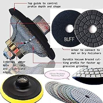 Diamond Polishing Pads 4 inch Dry 8 Piece /& Backer Pad engineer stone glass tile