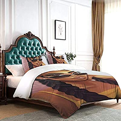 Tidyki African Black Girl with Glasses Afro Hairstyle Duvet Cover Set Queen Size Decorative 3 Piece Bedding Set with 2 Pillow Shams Warm Comforter Cover: Home & Kitchen