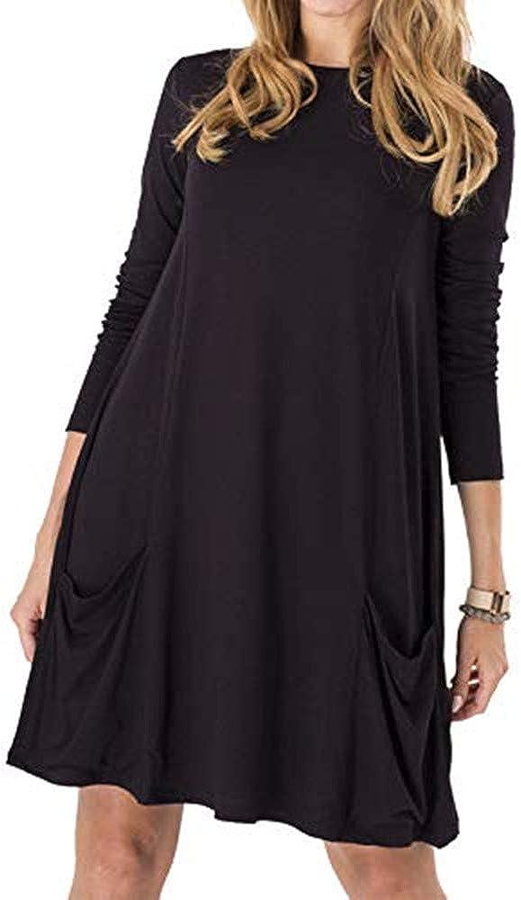 Dress for Women Solid Colors Basic T-Shirt Dresses Plain Simple Tunic Loose Dress Casual Knee Length Dress Pockets