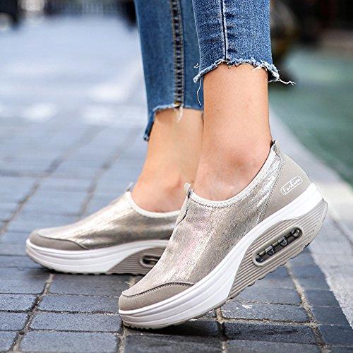 Con Pu Zapatos Deporte on Zapatillas Moda Transpirable De La Gris Hongang Cuña Slip Casuales wz18Cxq
