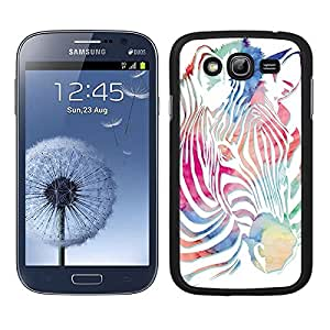 Funda carcasa para Samsung Galaxy Grand diseño animal cebra estampado colores borde negro