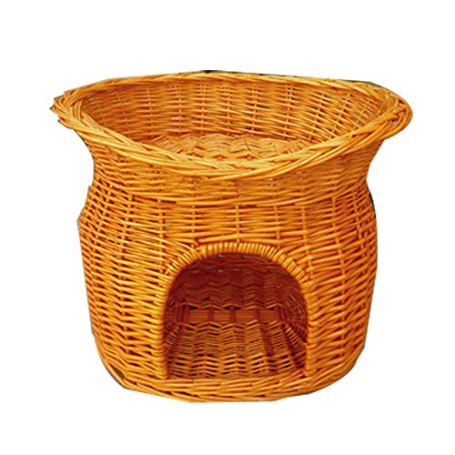 Hongshida Pet Wicker Basket Bed Pets Kennel House Handmade Eco-friendly Two Level outdoor indoor dog cat kennel two mat free(the color of mat random) …