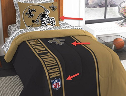 New Orleans Saints Bed in a Bag Set Bedding Shams NFL 5 Piece Twin Size 1 Comforter 1 Sham 1 Flat Sheet 1 Fitted Sheet and 1 Pillowcase Football Linen Bedroom Decor Imported