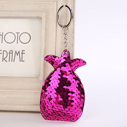 Keychain Accessories Shiny Purse Sequins Chain Pineapple Key Rose Handbag Sparkly Red Women Sequin for Charms Bag nT8vxw
