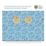 Floral 2014 UK ?1 Brilliant UncirculatedTwo-Coin Set by Royal Mint