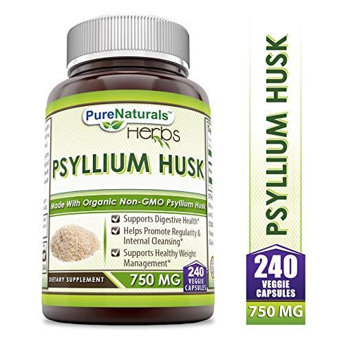 Pure Naturals Psyllium Husk – 750 mg Platango Ovata Fiber Capsules Veggie Capsules (240 Count)
