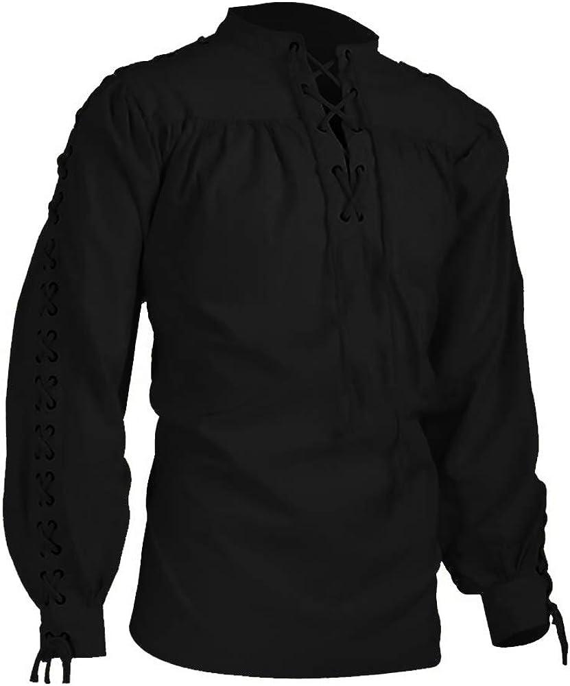 Dihope, camisa medieval para hombre, estilo gótico, de manga larga, con cordones, alto informal: Amazon.es: Ropa y accesorios