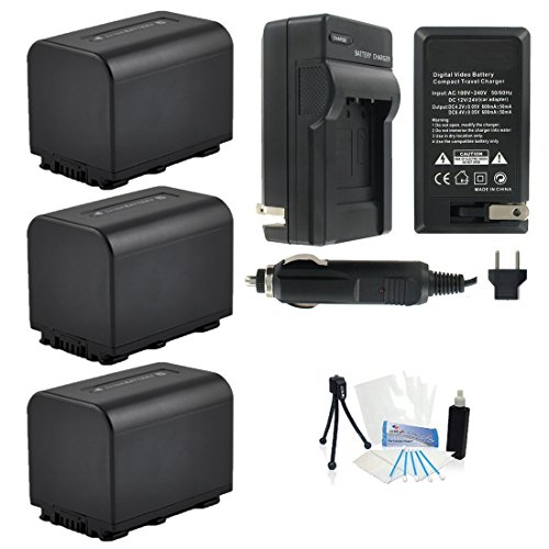 3-Pack NP-FV70 High-Capacity Replacement Batteries with Rapid Travel Charger for Select Sony Digital Cameras. UltraPro Bundle Includes: Camera Cleaning Kit, Screen Protector, Mini Travel Tripod by UltraPro (Image #4)