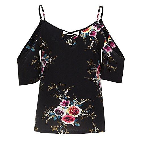 1 Blouse Casual Grande Noir Imprim Paule Dames ~ XXL Femme Taille Blouse Floral S Manche T Wolfleague Chemises Courte Shirt Chic Tops 1wAAdqC