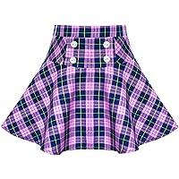 Sunny Fashion Meninas Saia Roxa Tartan Escola Stretchy Uniforme De volta à escola 6-14 anos