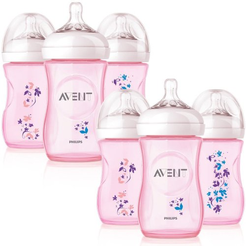 Philips AVENT 9 Ounce BPA Free Natural Polypropylene Bottles, 6 Pack, Pink Flowers