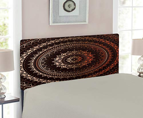 Magic Twin Headboard Room - Lunarable Mandala Headboard for Twin Size Bed, Enclosing Magic Circle Middle Eastern Egyptian Folkloric Culture Pattern, Upholstered Decorative Metal Headboard with Memory Foam, Dark Brown and Orange