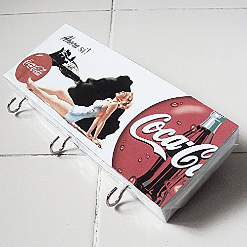Agility Bathroom Wall Hanger Hat Bag Key Adhesive Wood 3 Hooks Vintage Coca Cola & Sexy Girl's Photo
