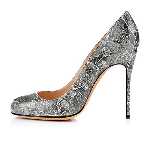 Tacco Round Alto M Shoes Stiletto Elegante Womens Court Toe Pompe grigio Slip Soireelady on SvBWzw
