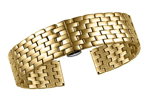 etal High-End Watch Bracelets Replacement Solid Stainless Steel with Folded Buckle ()