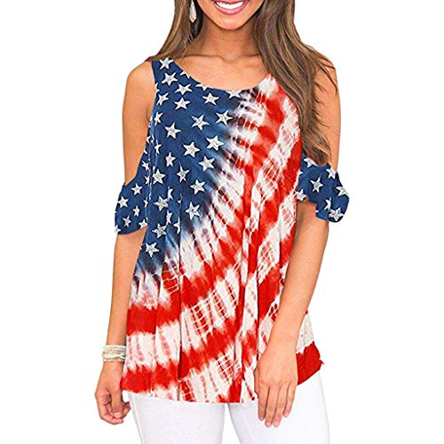 4th July Women's Cold Shoulder Short Sleeve America Flag Print Tunic Tops (XL, Red) -