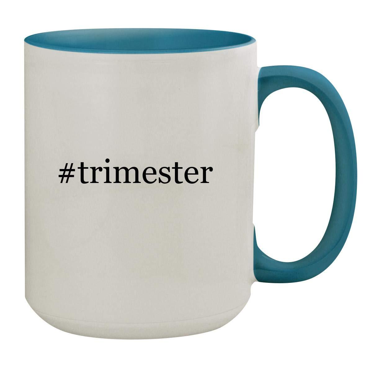 #trimester - 15oz Hashtag Ceramic Inner & Handle Colored Coffee Mug, Light Blue