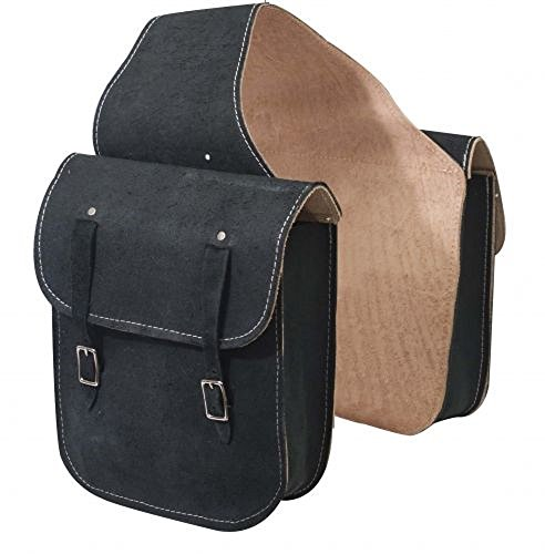 - Black Rough Out Leather Saddle Bag with Double Buckle Closure