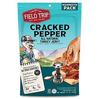 Field Trip Gluten Free, High Protein, Cracked Pepper Turkey Jerky, 12oz Bulk Bag