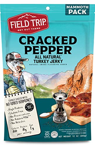 (Field Trip Gluten Free, High Protein, Cracked Pepper Turkey Jerky, 12oz Bulk Bag)