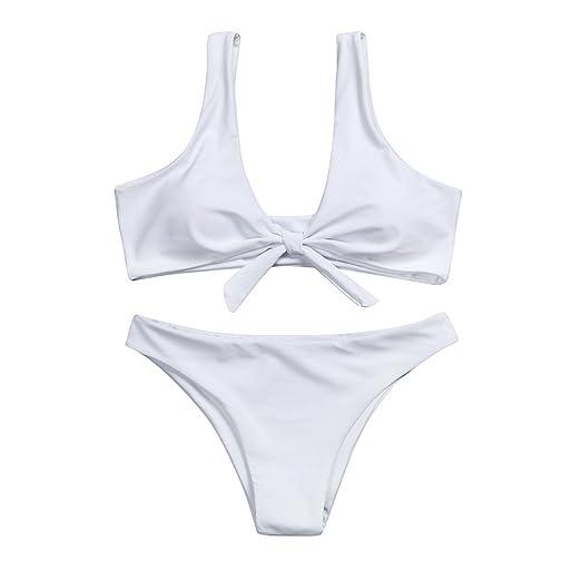 29056b8a32ad9 Amazon.com  Hunputa Women Sexy Push Up Front Tie Knot Triangle Bottom  Padding Bikini Brazilian Swimwear Beachwear Two Pieces Swimsuit  Clothing