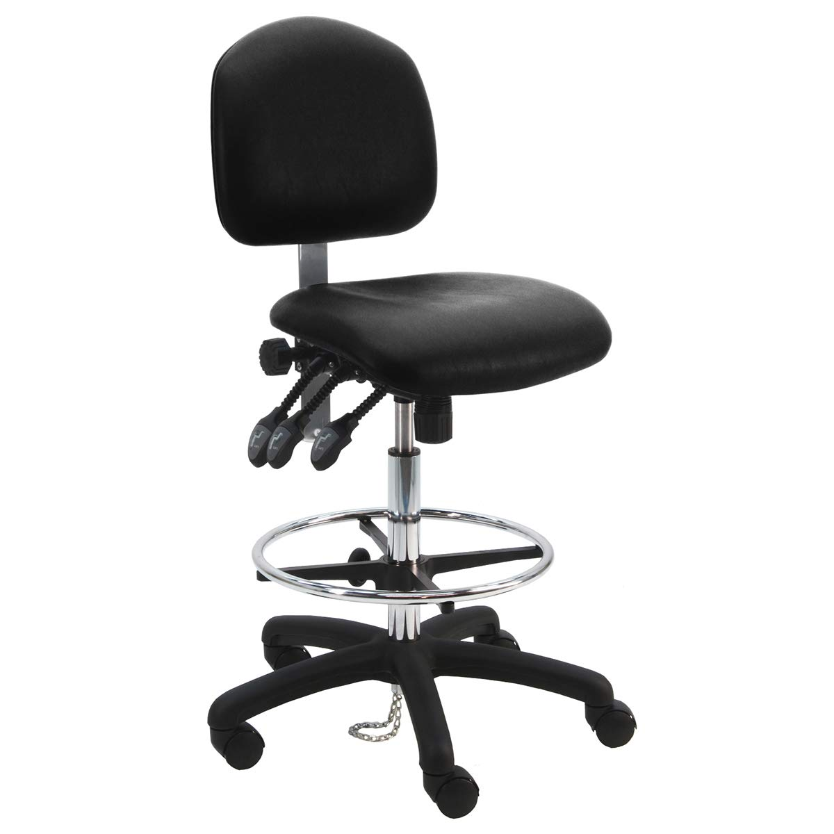BenchPro Deluxe Cleanroom ESD Chair with 18'' Adjustable Footring. 24'' Nylon Base, 23''-33'' Height Adj. 450 lb. Capacity, 3 Lever
