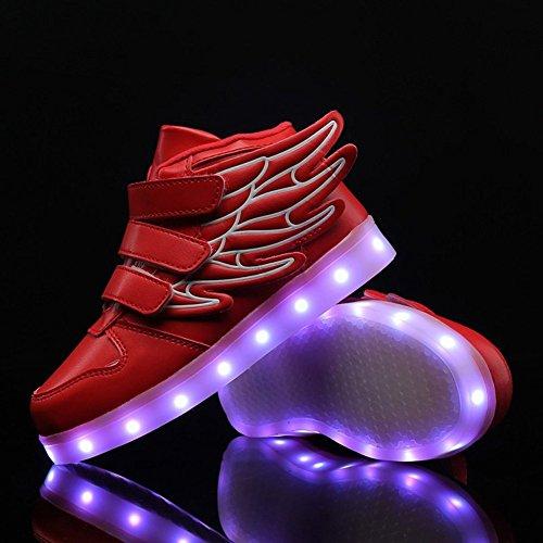 Aidonger Unisex Kinder LED Schuhe 7 Farbe Farbwechsel Turnschuhe USB Aufladen LED Sneaker Leuchtend Schuhe Rot