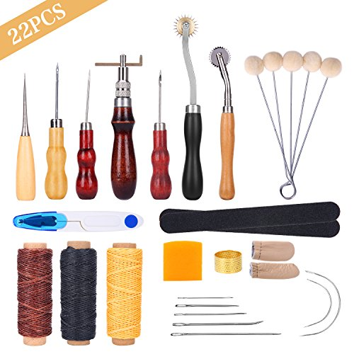 Leather Sewing Tools YESURPRISE 22 Pieces Leather Craft Tool Kit DIY Leather Stitching Making Working Tool Set with Groover Awl Waxed Thimble Thread for Sewing Leather Canvas Or Other Leathercraft by Yesurprise