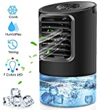 Portable Air Conditioner Fan, Peodelk Mini Evaporative Cooler with 7 Colors Light Changing, 3 Fan Speed, Super Quiet Humidifier Misting Fan for Home Office Bedroom(Black)
