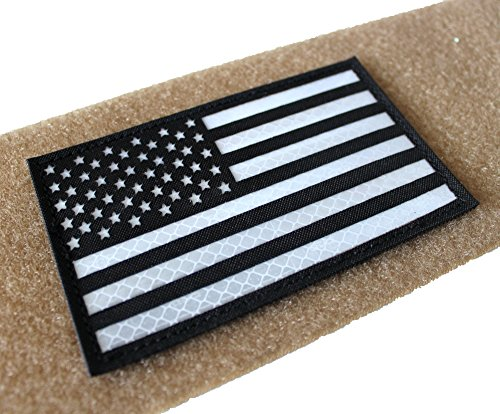 Hannah fit Reflective Black White US USA American Flag Moral