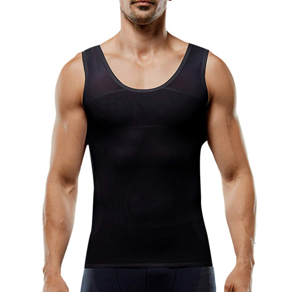 NUWFOR Men's Summer Fashion Casual Bodybuilding Sport Fitness Tops Vest Shaperwear Tank(Black,S US Bust:33.0-36.9'')