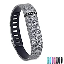 Wristband for Fitbit Flex, GMYLE Replacement Silicon Wrist Band Bracelet with Clasp for Fitbit Flex Activity and Sleep Tracker (Large) (Wave Pattern)