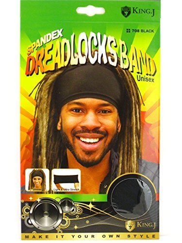 King.J Unisex Spandex Dreadlocks Band (Black) -