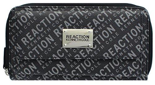 Kenneth Cole Reaction Womens Napa Zip-Around Urban Organizer Wallet (PRINTED 2 TONE BLACK)