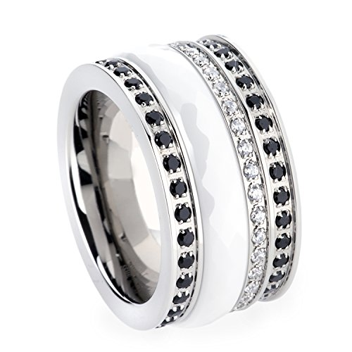 GESTALT Stackable Ring Combination. 12mm. Surgical Stainless Steel with Brillianite stones and white Ceramic (Steel White Ceramic)