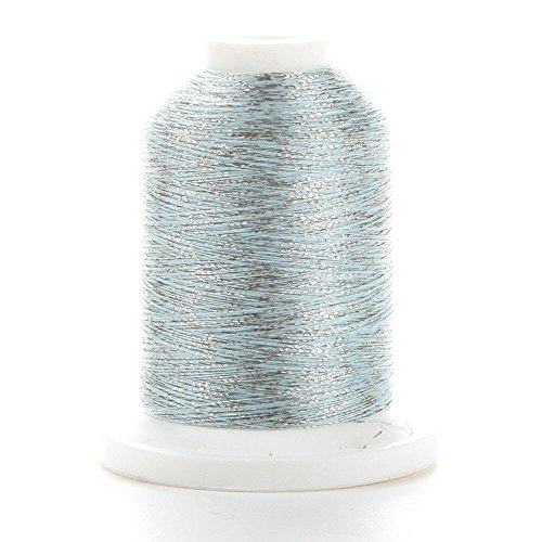 YLI 20510-SP3 Fine Metallic Nylon Variegated Thread, Silver and Light Blue - Fine Metallic Nylon Thread