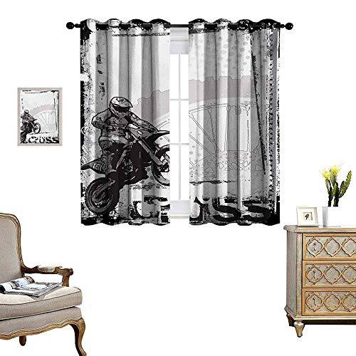 WinfreyDecor Motorcycle Room Darkening Wide Curtains Motocross Racer Image Grungy Background Poster Style Monochromic Artwork Print Customized Curtains W63 x L72 Black White